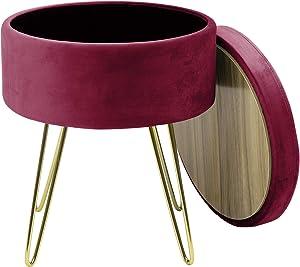 Sorbus Velvet Footrest Stool, Round Mid-Century Modern Luxe Velvet Ottoman, Footstool Side Table, Removable Seat Lid, Gold Leg Design (Gold Legs - Red Magenta)