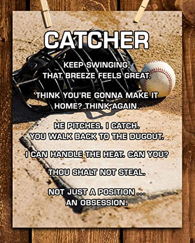Catcher Funny Baseball Quotes 8 X 10 Sports Poster Print Ready To Frame Sports Motivational Wall Art Home Office Bedroom Décor Great Jabs For