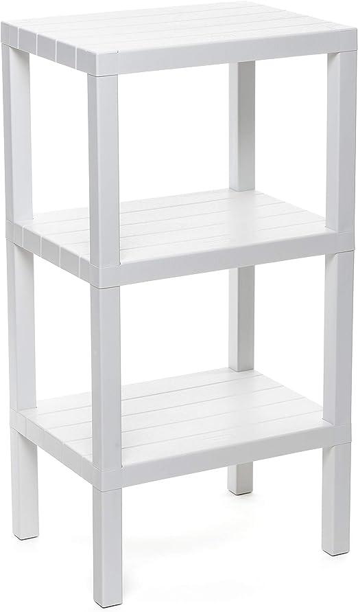 Tatay estantería Rectangular de 3 Alturas, Blanco, Acabado Efecto Madera. Medidas 38 x 29 x 73,5 cm