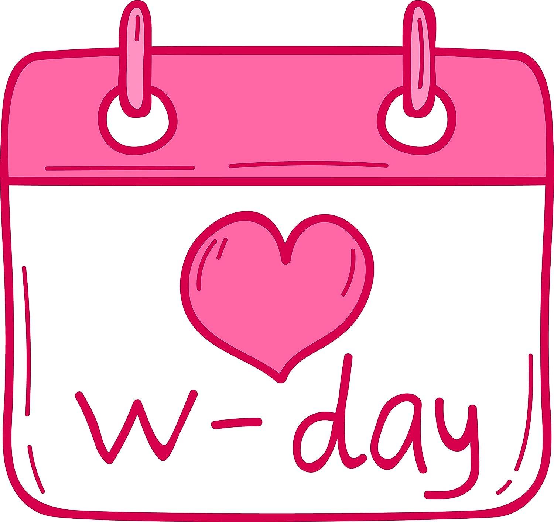 Amazon Com Cute Pink Wedding Day Cartoon Art Icon Emoji Vinyl Sticker 2 Wide Calendar Day Automotive