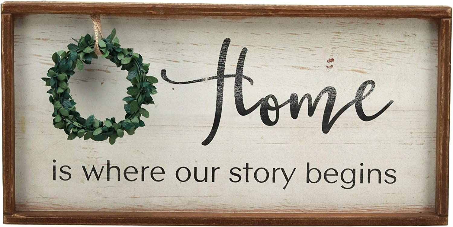 Parisloft Home is Where Our Story Begins Rustic Wood Signs with Wreath|Farmhouse Wooden Plaque Wall Hanging Signs for Housewarming ¡­