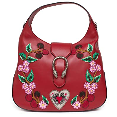 58a1cd23c Amazon.com: Gucci Red Dionysus Embroidery Cherry Blossoms Leather Shoulder  Bag Medium Hobo Handbag New: Shoes