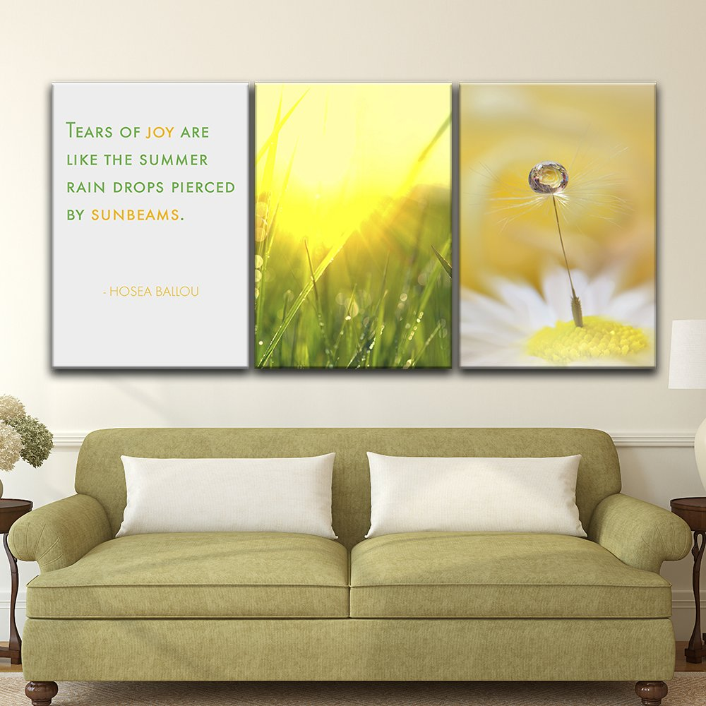 wall26-3 Panel Canvas Wall Art - Rain Drops on the Plants in Summer ...