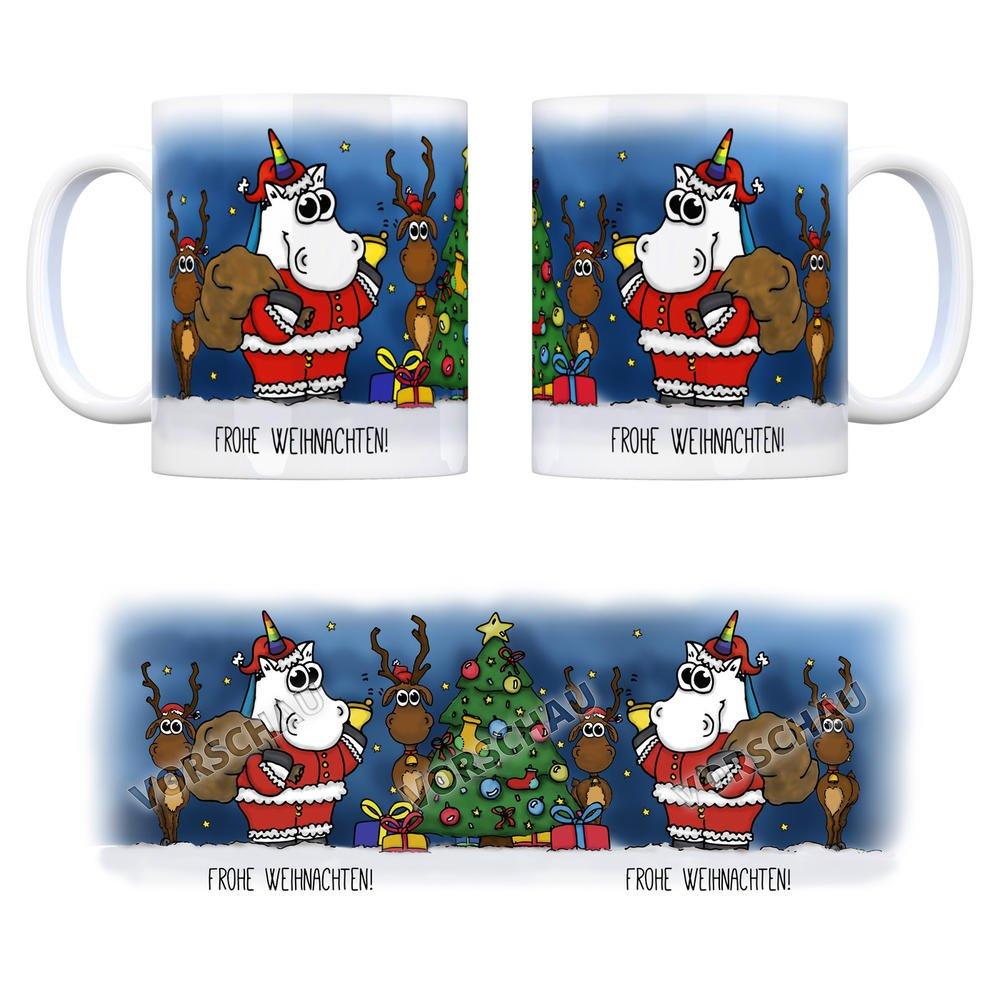Honeycorns Kaffeebecher mit Einhorn Weihnachtsmann Motiv und Spruch ...