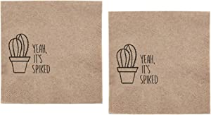 40 Cactus Paper Napkins | Succulent Cocktail Beverage Napkins for Southwestern, Texas, Mexican Themed Birthday, Bridal, Bachelorette and Anniversary Party | Set of 2 packs of 20