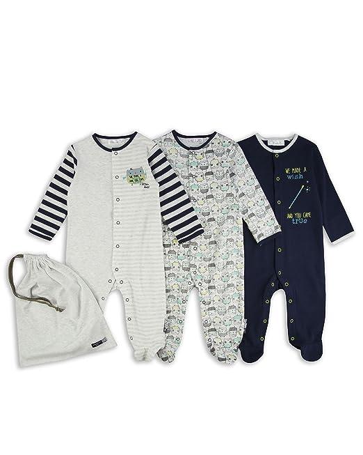 The Essential One - Bebé niños - Búho Pijamas - Paquete de 3 - Azul/