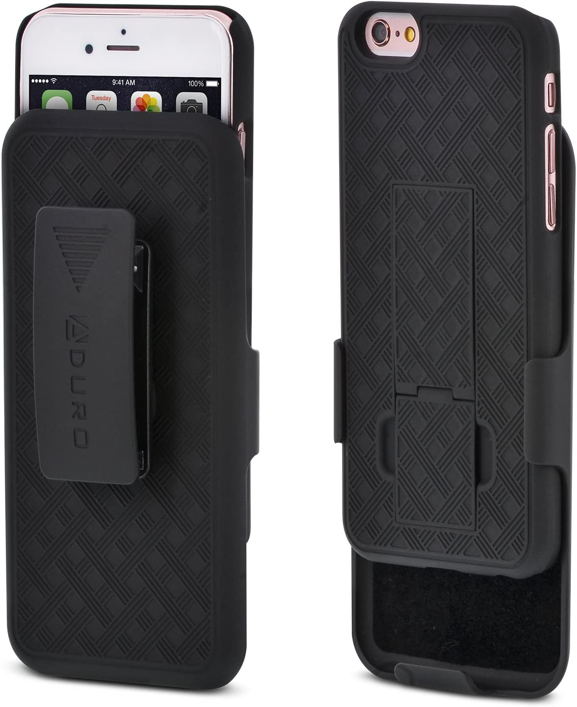 iPhone 6S / 6 Case, Aduro Combo Shell & Holster Case Super Slim Shell Case w/Built-in Kickstand + Swivel Belt Clip Holster for Apple iPhone 6S / 6