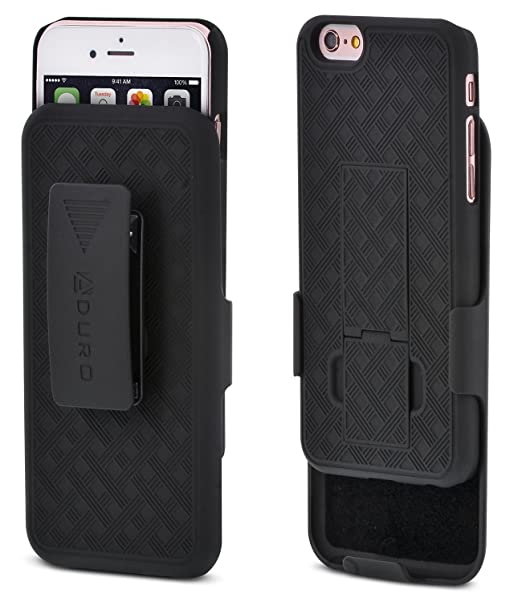 new style b1f20 8b171 Aduro iPhone 6S / 6 Case, Combo Shell & Holster Case Super Slim Shell Case  w/Built-in Kickstand + Swivel Belt Clip Holster for Apple iPhone 6S / 6