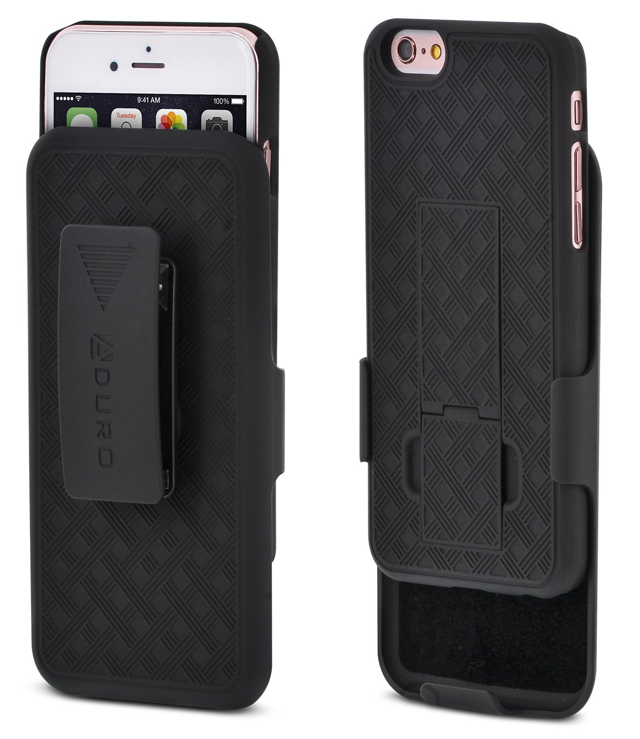 iPhone 6S/6 Case, Aduro COMBO Shell & Holster Case Super Slim Shell Case w/Built-In Kickstand + Swivel Belt Clip Holster for Apple iPhone 6S/6