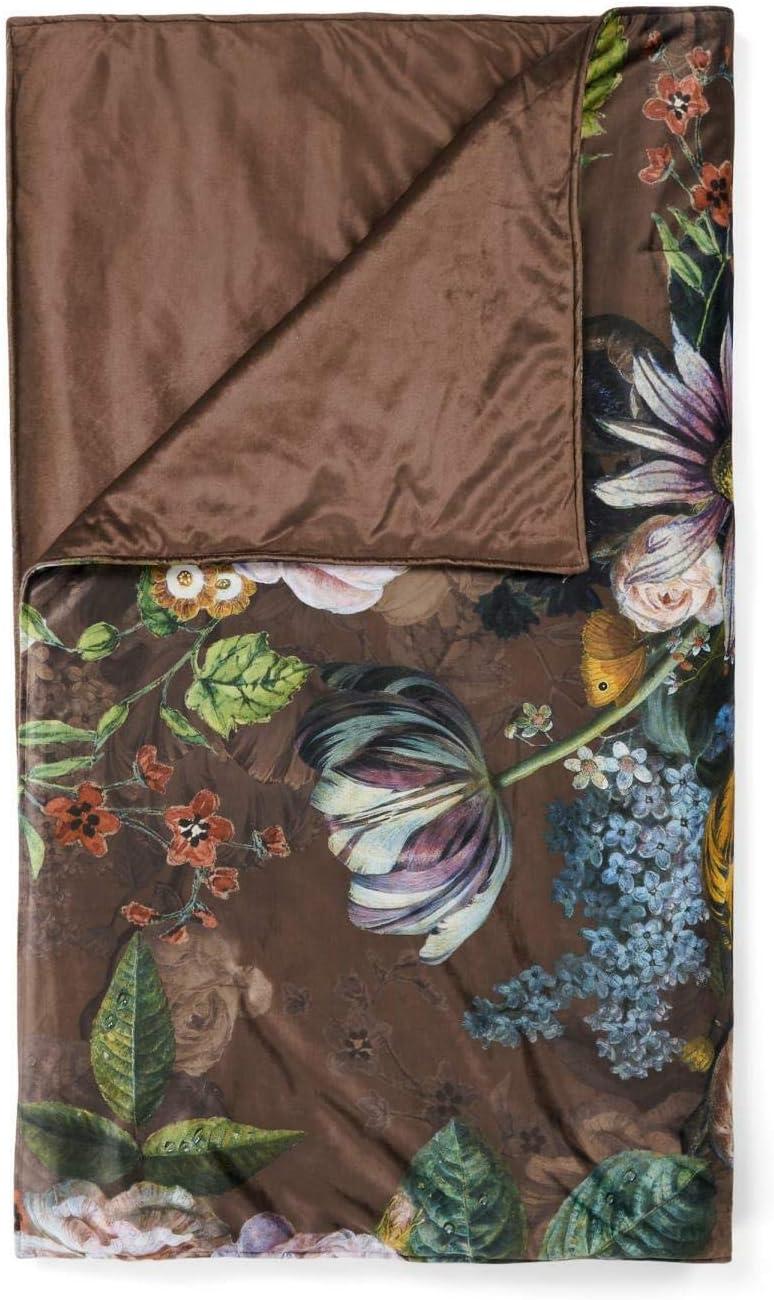 ESSENZA Quilt Giselle Flores Peonías Tulipanes poliéster Chocolate 270x265 cm