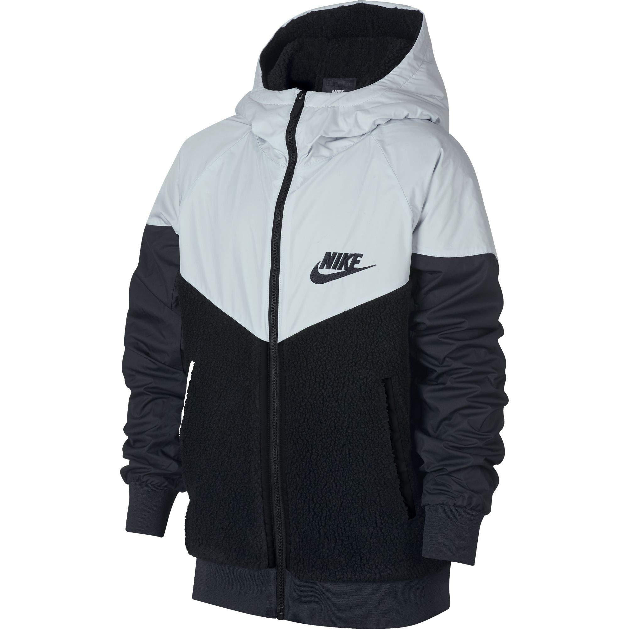 Nike Boy's Sportswear Windrunner Sherpa Jacket Black/Pure Platinum/Black Size Small