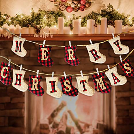 Amazon Com Coming 2021 Merry Christmas Banner Party Banner Burlap Sock Shaped Christmas Stocking Decorations Clearance Christmas Fireplace Decorations Home Decor Rustic Christmas Ornaments Decorations Indoor Home Kitchen