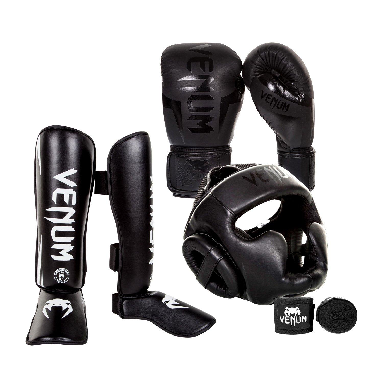 Venum Elite Challenger 2.0 Boxing Gloves Kit - Black/Black Gloves, Black/White Shinguards, Black/Black Headgear, Black Handwraps - 14-Ounce Gloves, X-Large Shinguards by Venum