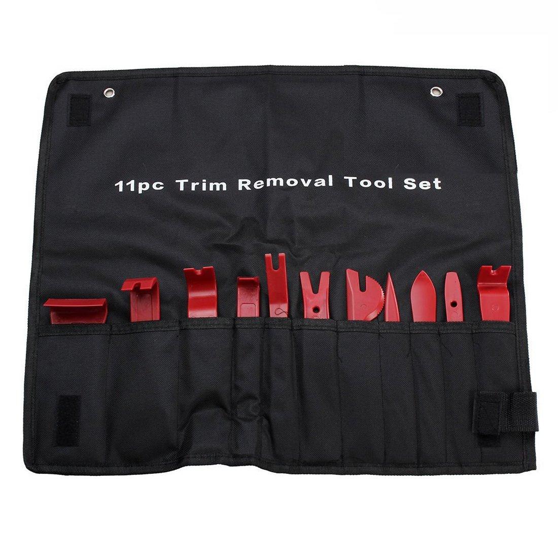 Gankarii reg; 11 Pcs Car Trim Door Panel Removal Molding Set Kit Pouch Pry Tool Interior DIY (Red)