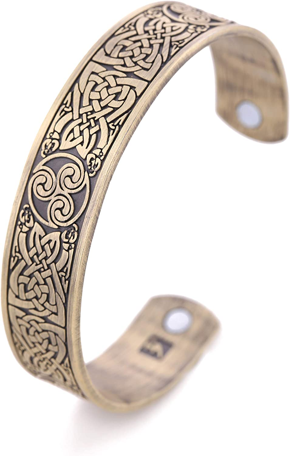 VASSAGO Vintage Amulet Nordic Viking Celtic Irish Knot Triskelion Triskele Magnetic Health Cuff Bracelet Men Women