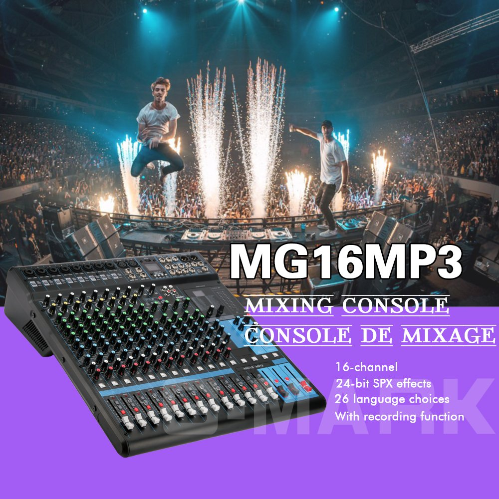 G Mark Professional Audio Mixer Sound Board Console Single Transistor System Interface 16 Channel Digital Usb Bluetooth Mp3 Computer Input 48v Phantom Power