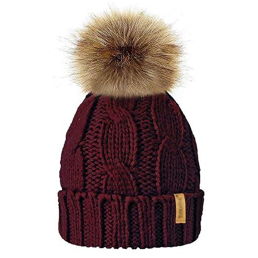 c67b1ae0cb0 Amazon.com  Cotton Knitted Pom Pom Hats For Children Winter Kids Faux Fur  Caps Boys Girls Warm Pompon Skullies Beanies  Clothing
