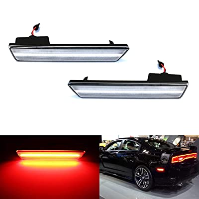 iJDMTOY Clear Lens Red Full LED Rear Side Marker Light Kit Compatible With 2008-14 Dodge Challenger, 2011-14 Charger, Powered by 36-SMD LED, Replace OEM Back Sidemarker Lamps: Automotive