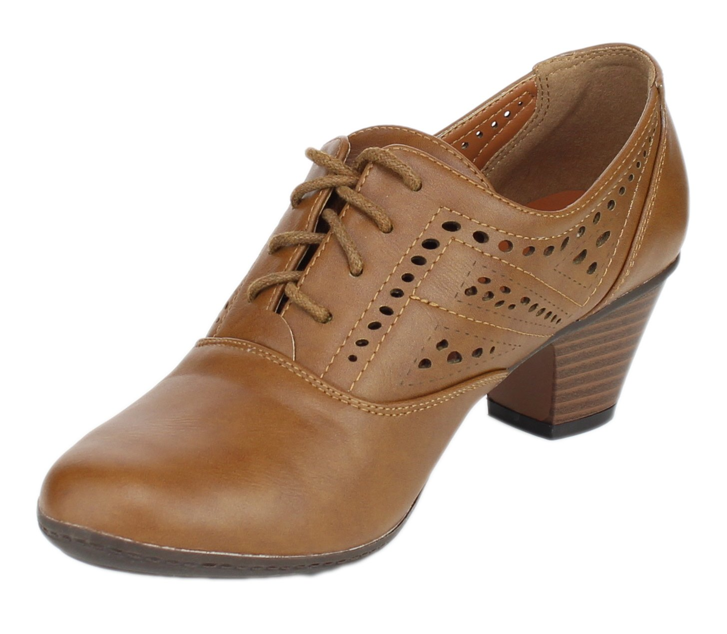 Refresh Women's London-01 Cutout Dressy Heeled Lace up Oxford Shoe (9 B(M) US, Tan) by Refresh