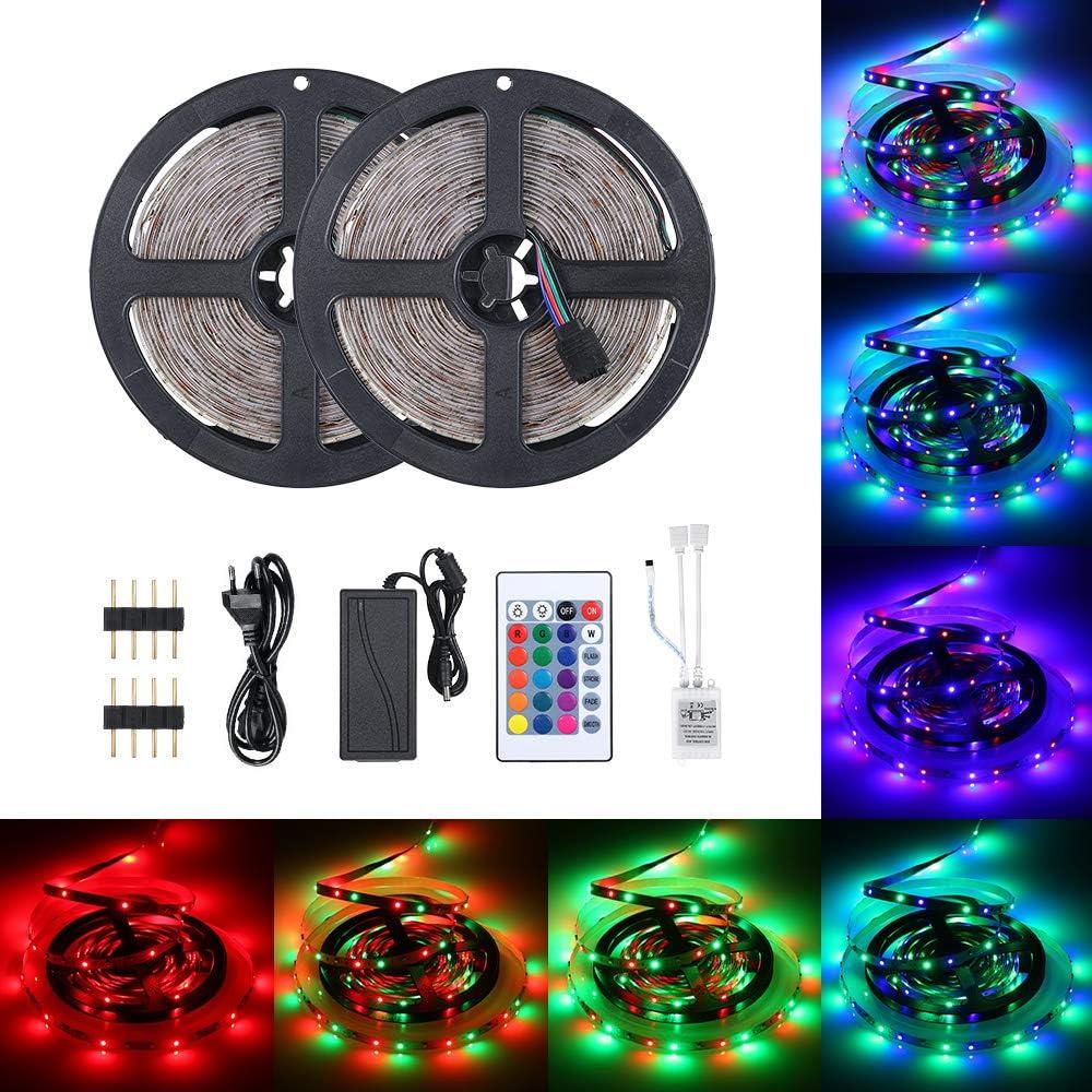 30000H Dur/ée de Vie 10M Kit de LED Bande Multicolore Peut-D/écoup/é Ritioner LED Ruban 600 LEDs 3528 RGB IP65 /Étanche Clignotant au N/éon Decor Rubans//T/él/écommande IR 24 Touches//16 Couleurs