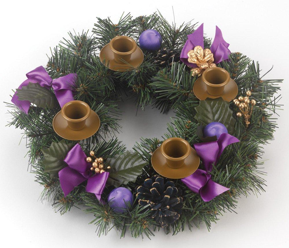 Purple Ribbon Advent Wreath Vermont Christmas Company VC903