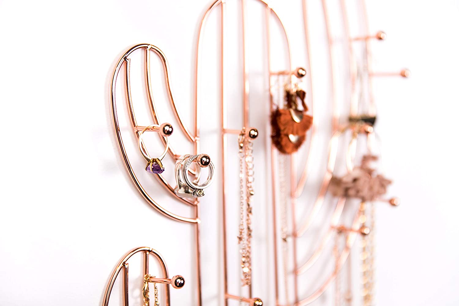 Large Hooks Wall Mounted Jewelry Holder for Necklaces Hanging Jewelry Organizer for Long Necklaces Rose Gold Cactus Design Ruby Mae Wall Jewelry Organizer Earrings /& Rings Bracelets