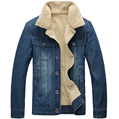 Mens Plus Velvet Warm Fur Collar Slim Fit Denim Jacket Coat Tops ...