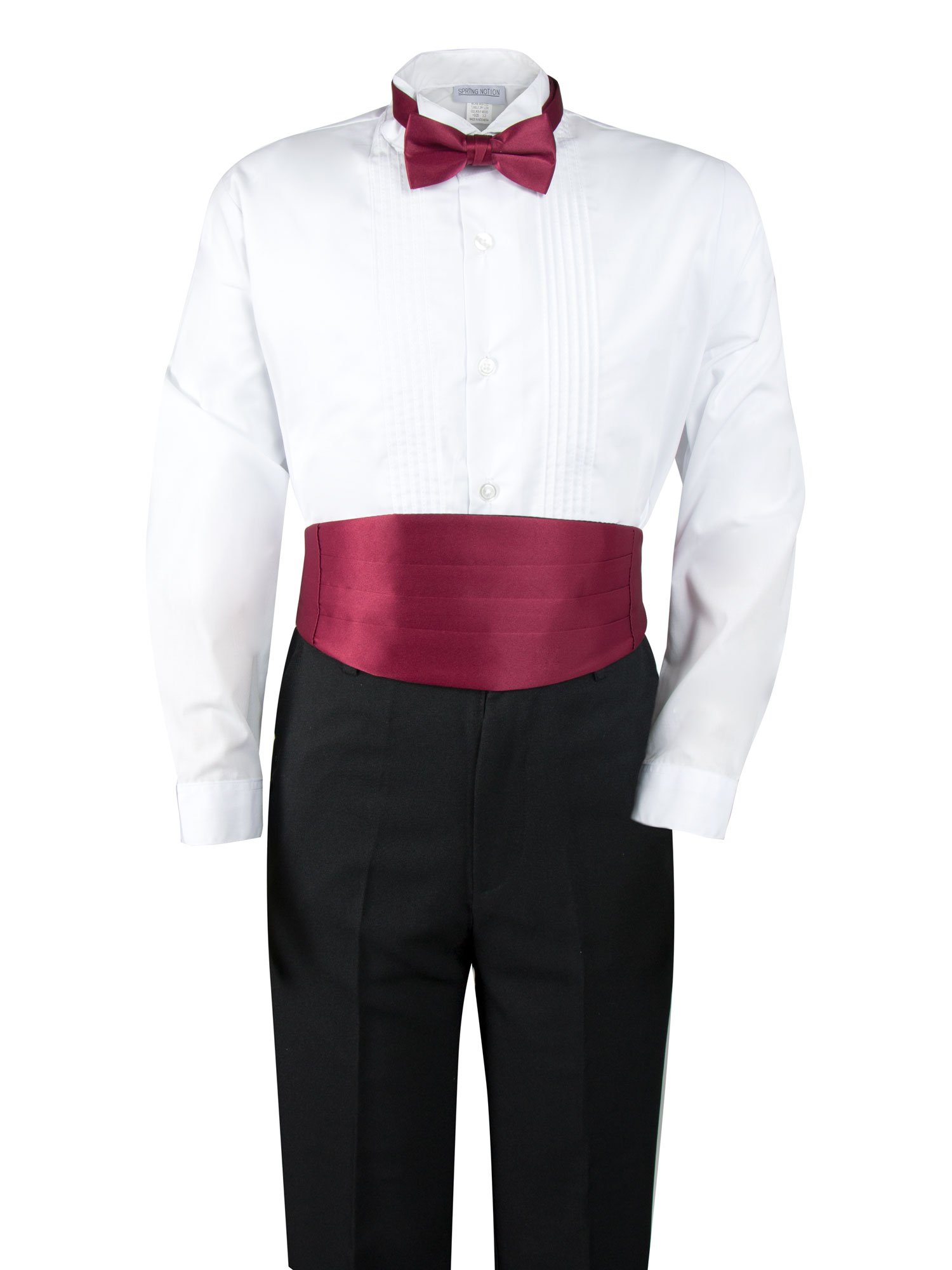 Spring Notion Boys' Black Classic Tuxedo with Tail Burgundy 4T by Spring Notion (Image #3)