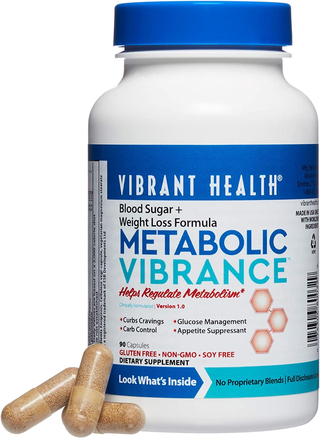 Vibrant Health – Metabolic Vibrance, Supports a Healthy Metabolism, Glucose Management, and Helps Control Appetite and Cravings, Gluten Free, Vegetarian, Non-GMO, 90 Count FFP