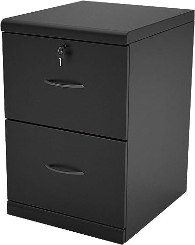 2 Drawer Vertical Wood Lockable Filing Cabinet Black