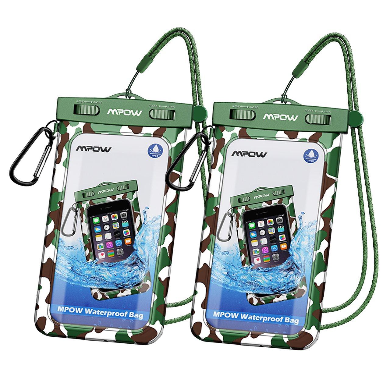 Mpowユニバーサル防水ケース、ipx8防水電話ポーチドライバッグiphone8 / 8plus / 7 / 7plus / 6s / 6 / 6s Plus Samsung Galaxy s8 / s7 Google Pixel htc10 (2 - Pack) B07BHFDK34 5.Camo