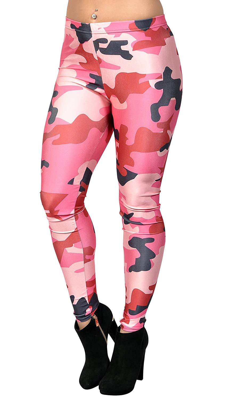 bac0f21c1e3fd Amazon.com: BadAssLeggings Women's Camo Leggings Medium Pink: Clothing