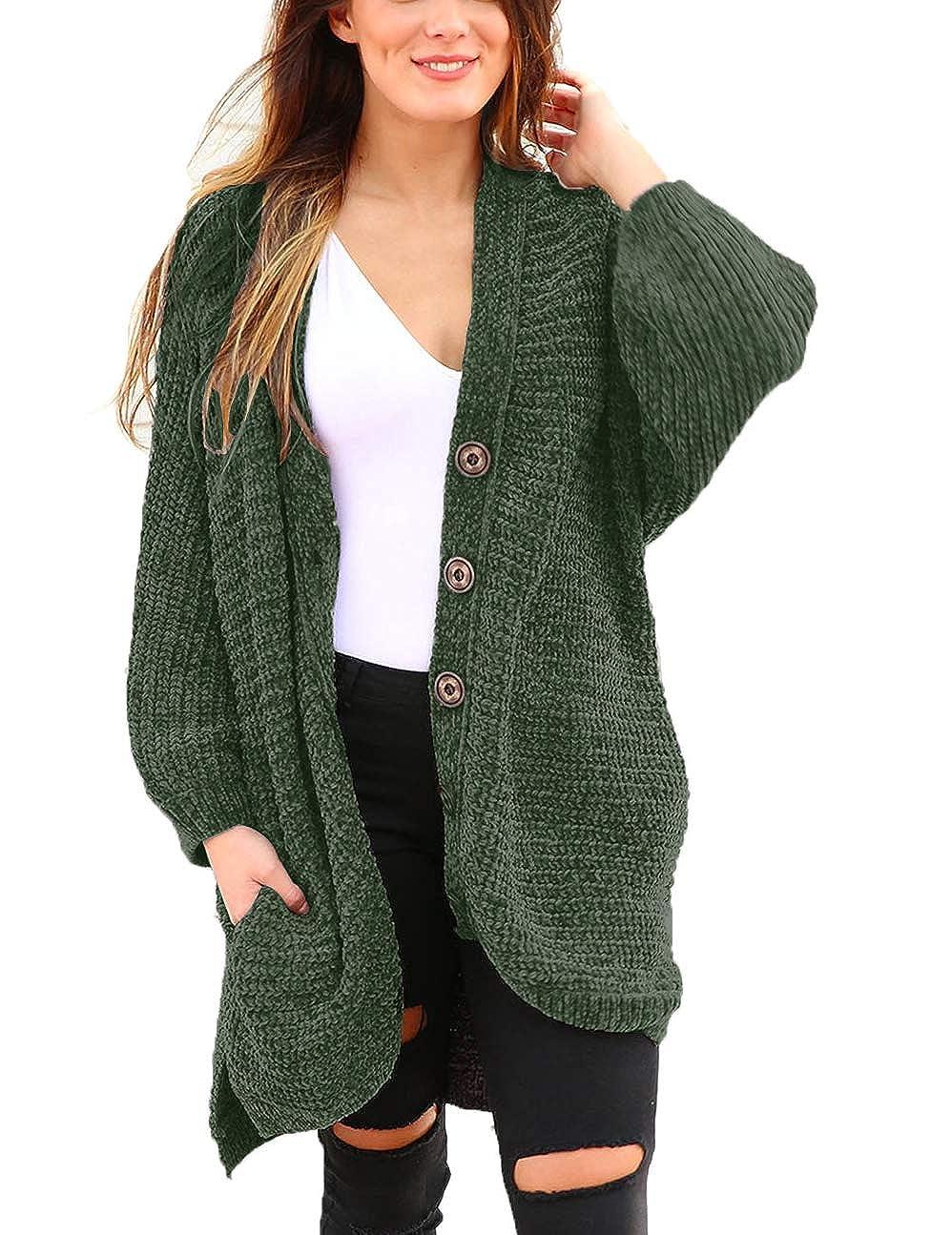 LUCKLOVELL Women Dark Green Chenille Buttoned Sweater Cardiga