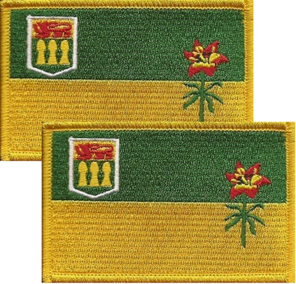Territory and Provinces Embroidered Iron On or Sew On Flag Emblem Tactical Morale Embroidered Patch Canadian Free Shipping Pack of 2 Saskatchewan Flag Patches; 8.9cm x 5.7cm