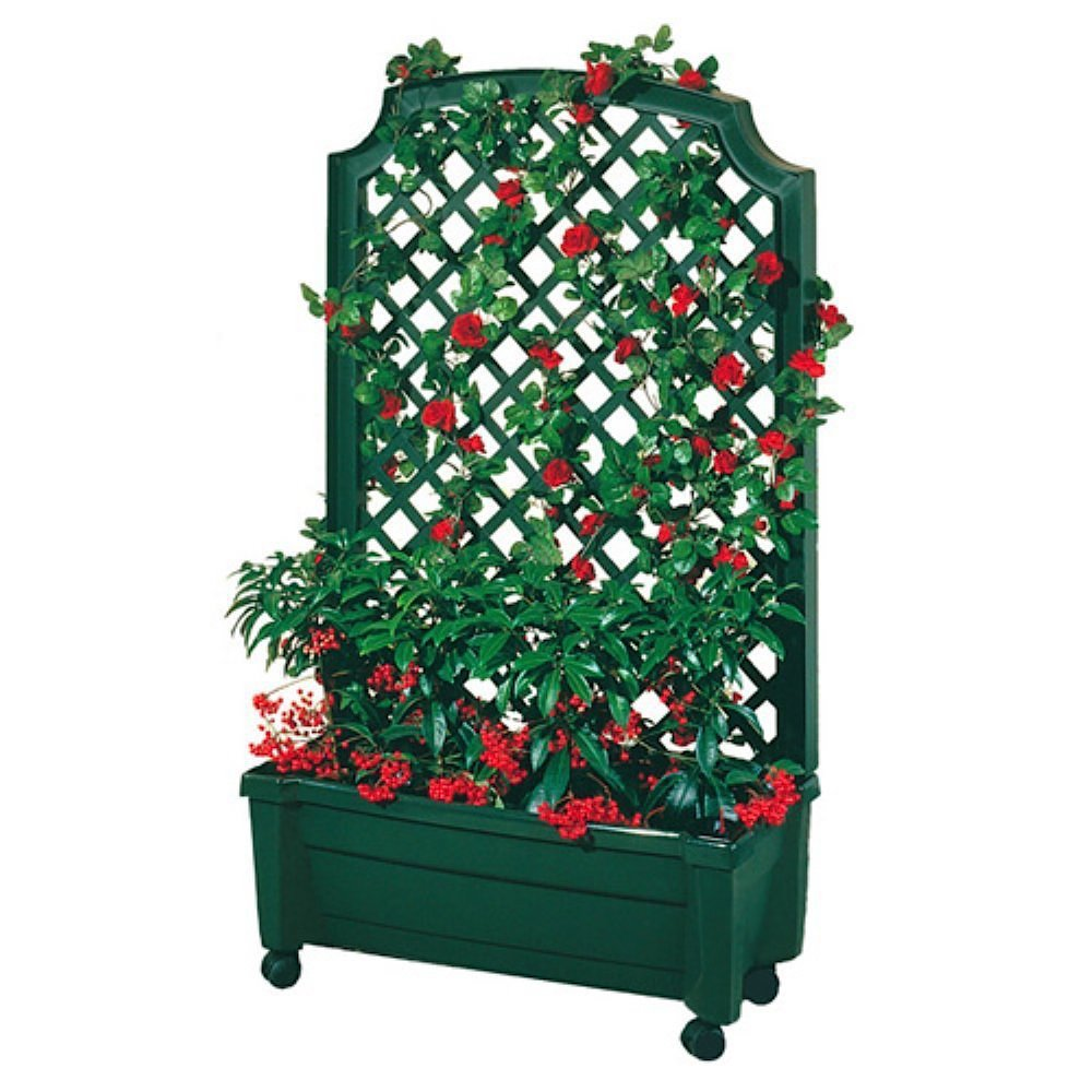 Exaco Trading 1.416Green Calypso Planter with Trellis and Self Watering System, Green