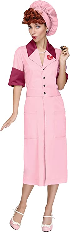 1950s Costumes- Poodle Skirts, Grease, Monroe, Pin Up, I Love Lucy I Love Lucy Womens Candy Factory Costume $37.64 AT vintagedancer.com