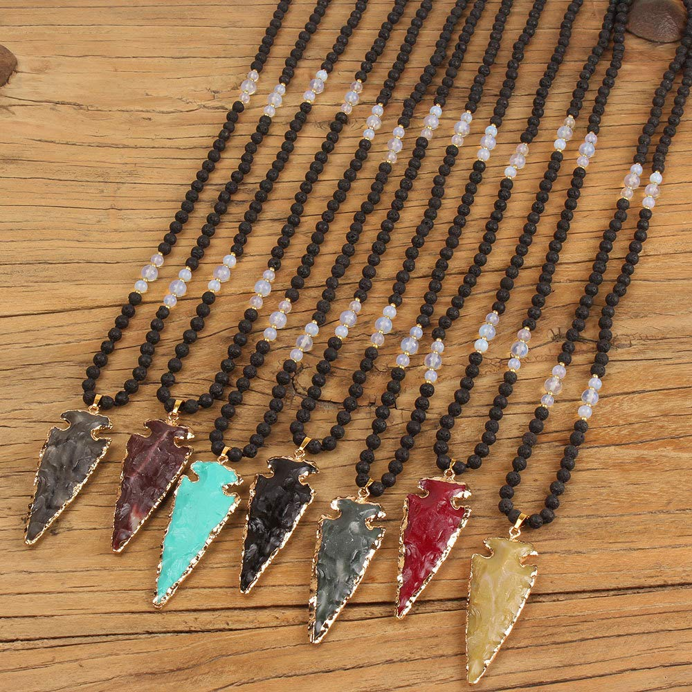 VEINTI+1 Boho Style Lava Stone Moon Stone with Arrow Shape Agate Long Necklace Sweater Chain