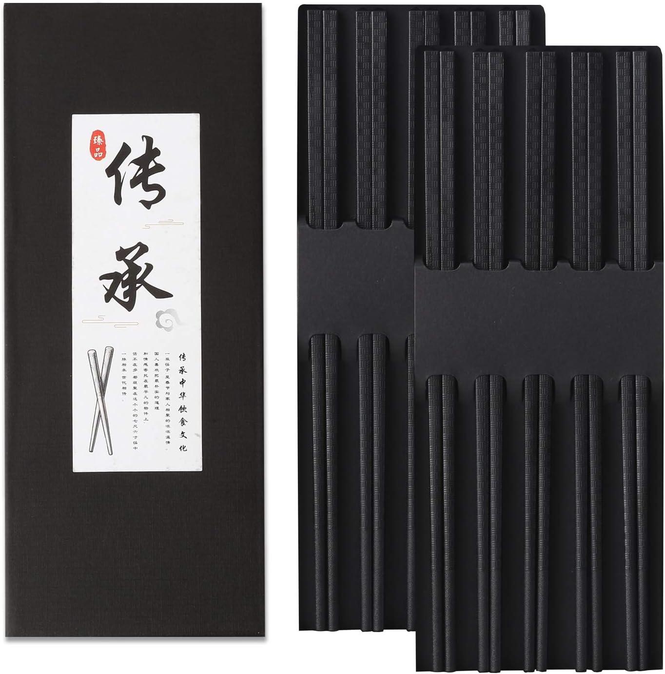 10 Pairs Fiberglass Chopsticks, Reusable Alloy Chop Sticks Non-slip Chopsticks in Minimalism Style, Dishwasher, 9 1/2 Inches (black bambootexture)