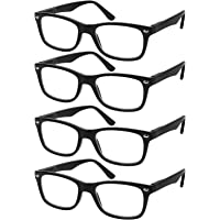 c30dcb9c49 Reading Glasses Set of 4 Black Quality Readers Spring Hinge Glasses for  Reading for Men and