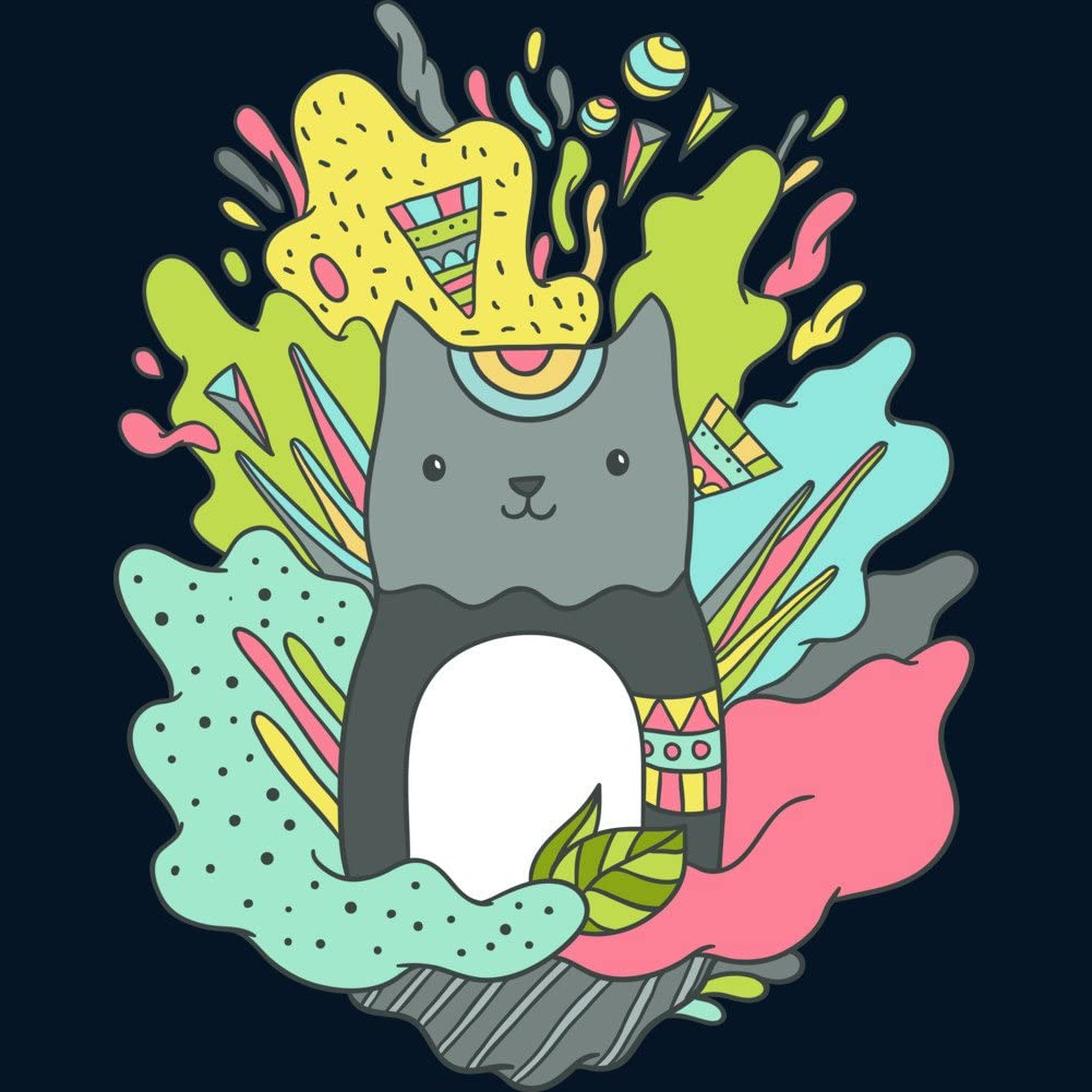 Design By Humans Abstract cat Boys Youth Graphic T Shirt