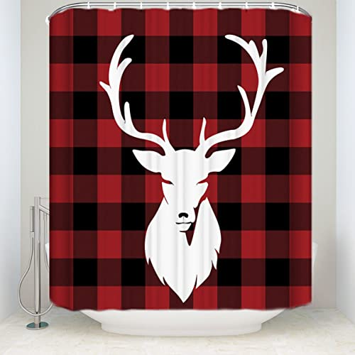 Libaoge Red Black Buffalo Check Plaid Deer Head Mildew Free Waterproof Polyester Fabric Bathroom Shower Curtain