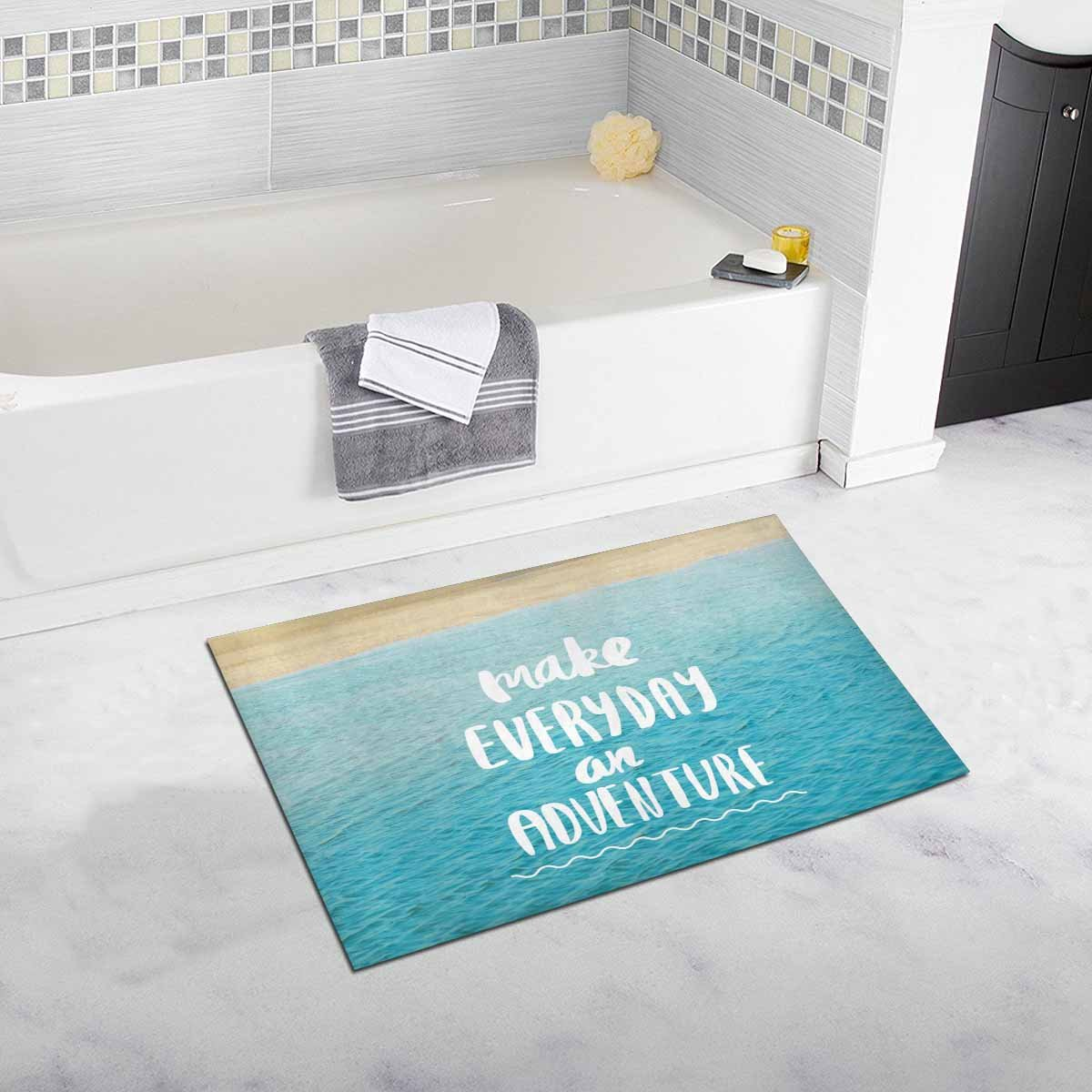 InterestPrint Inspirational Quote On Blue Ocean Sea Make Everyday an Adventure Home Decor Non Slip Bath Rug Mats Absorbent Shower Rug for Bathroom Tub Bedroom Large Size 20 x 32 Inches