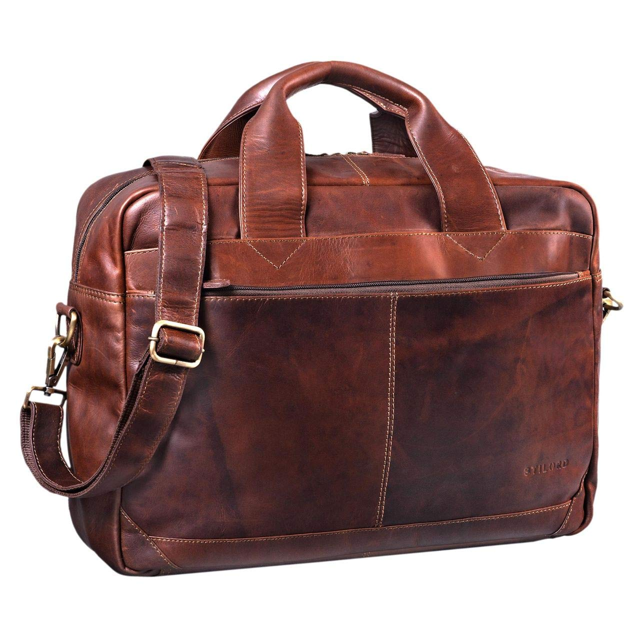 STILORD 'Amadeus' Lehrertasche Leder XL Vintage Aktentasche für Herren Damen große Umhängetasche DIN A4 mit 15.6 Zoll Laptopfach für Schule Uni Arbeit echtes Rindsleder, Farbe:Cognac - braun