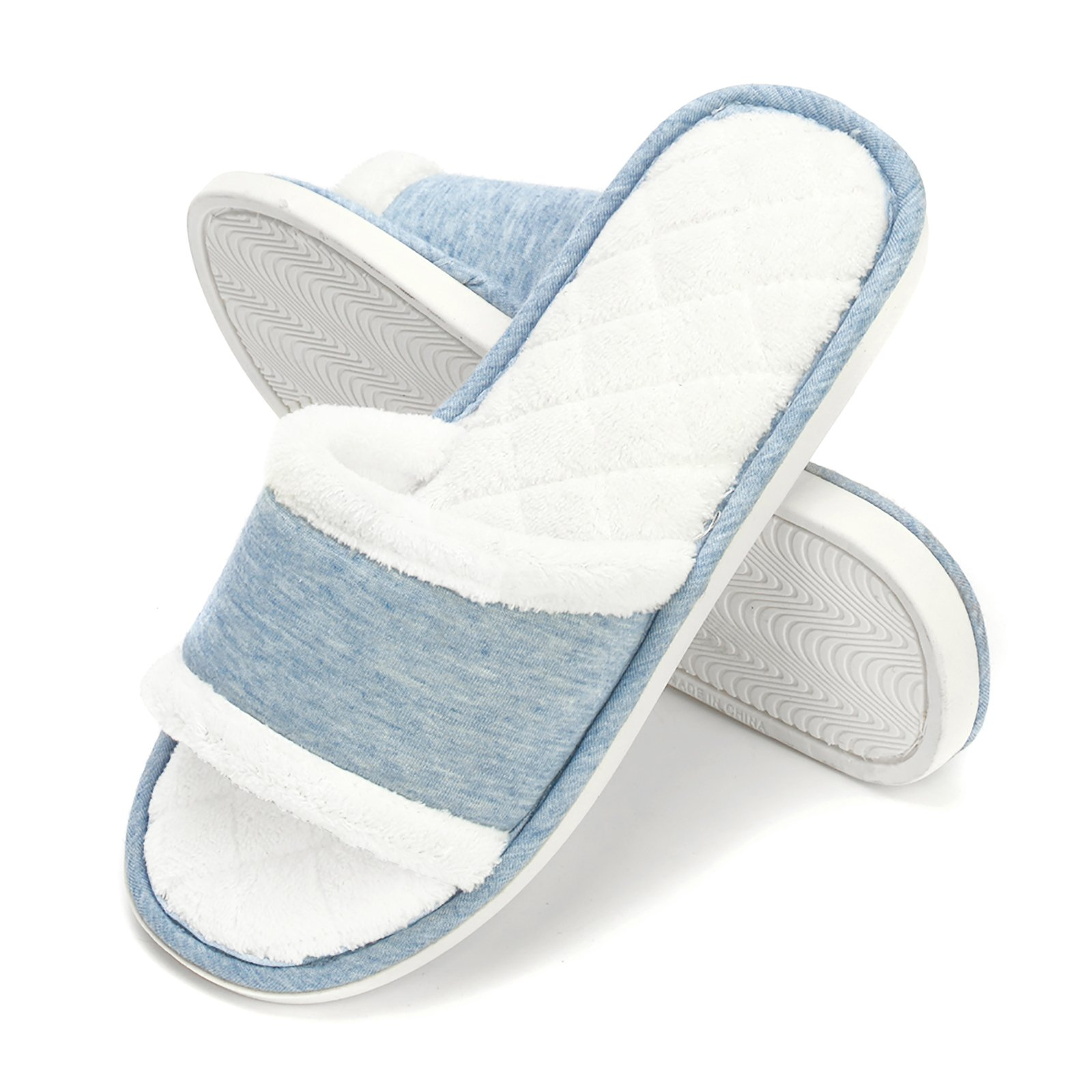 DRSLPAR Womens Comfort House Slippers Plush Memory Foam Open Toe Spa Slide Slippers Blue M