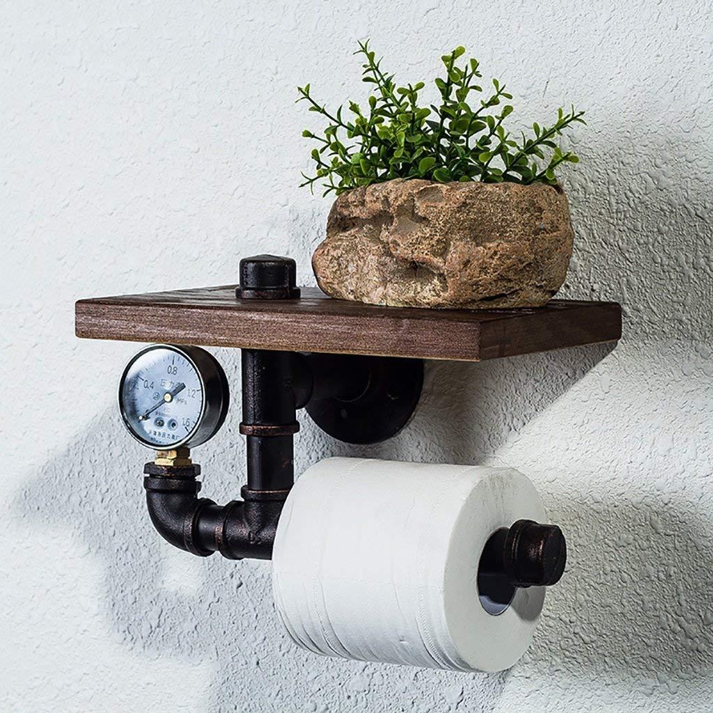 FuweiEncore Planchas de Papel higiénico Hierro Retro Estanterías Estilo Industrial (Color: E) (Color : B, tamaño : -)