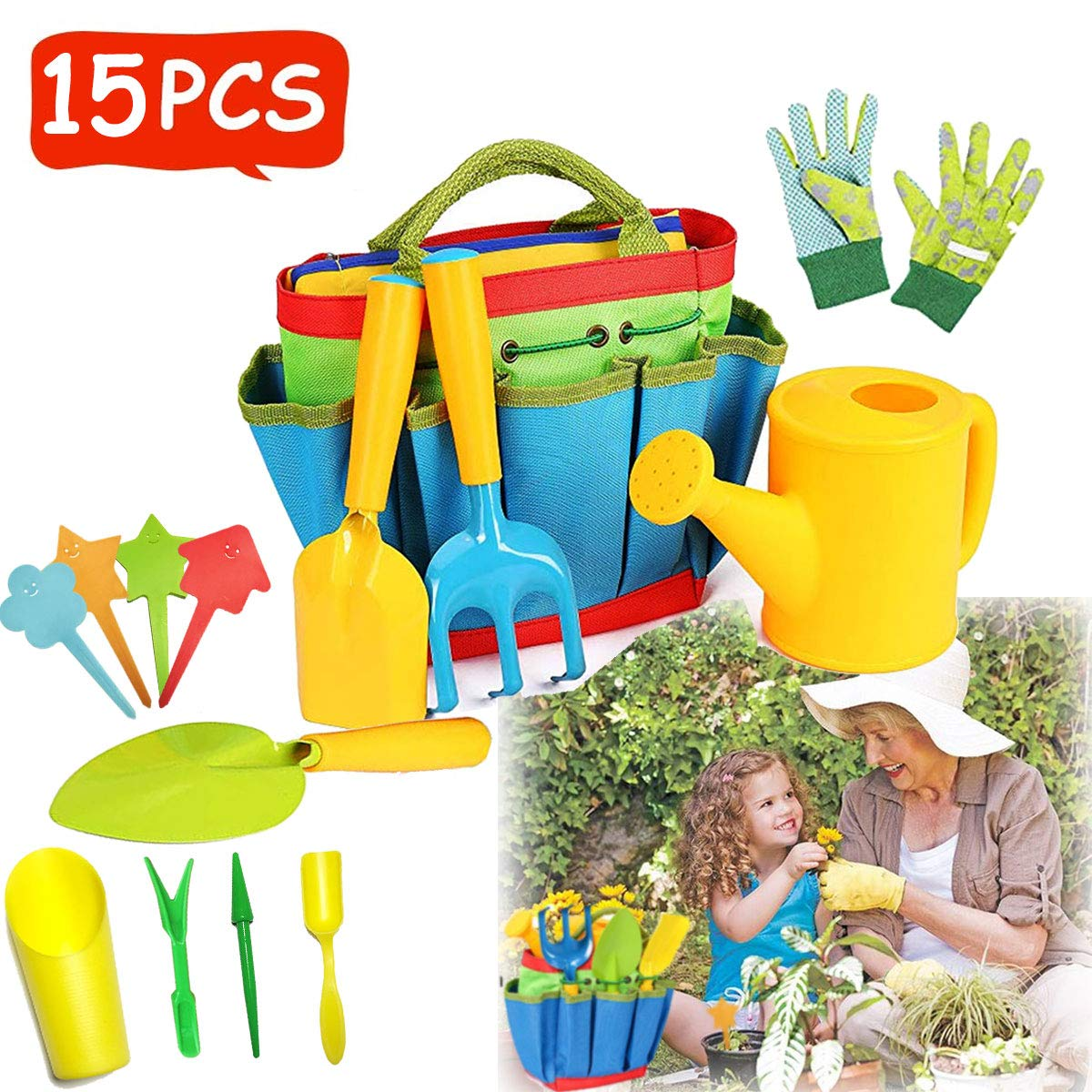 Kids Gardening Tools Kids Gardening Gloves Toddler Gardening Set Real Garden Tools For Kids Gardener Set Outdoor Toys Kids Gifts For Kids Boys Girls Gardening Kit With Tote Bag Dress Up Role Play