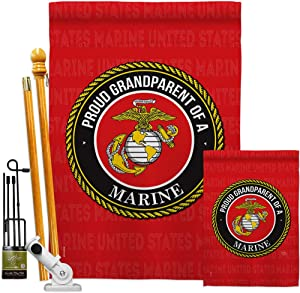 Breeze Decor Proud Grandparent Garden House Flag-Kit Armed Forces Marine Corps USMC Semper Fi United State American Military Veteran Retire Official Banner Small Yard Gift Double-Sided, Made in USA