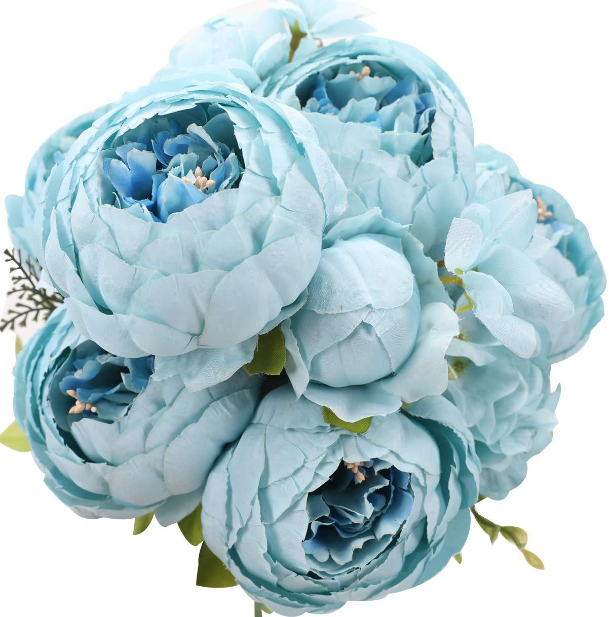 silk flower arrangements duovlo artificial peony silk flowers fake flowers vintage wedding home decoration,pack of 1 (spring blue)
