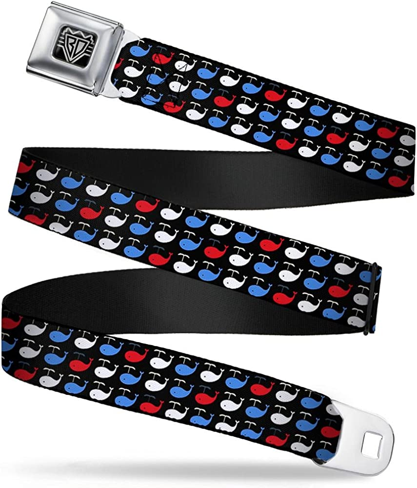 1.5 Wide Whales Navy//Red//White//Blue 32-52 Inches in Length Buckle-Down Seatbelt Belt