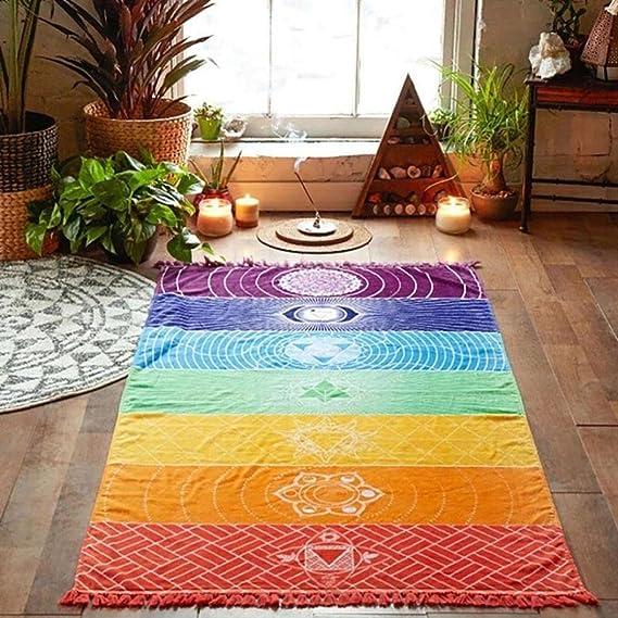 Yoga de la toalla, ❤️Xinantime Toallas deportivas Poliéster Arco iris caliente playa Estera Manta